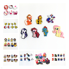 Mixed 6-8Pcs/lot Kitty Ponies Princess Pokemon Mickey elsa shoe decoration shoe charms fit children croc shoes Accessories Gift(China (Mainland))