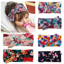 Buy Kids Girl Flower Floral Bow headband Turban Knot Rabbit Headband Headwear Hair printed Band Hair accessories for $1.29 in AliExpress store