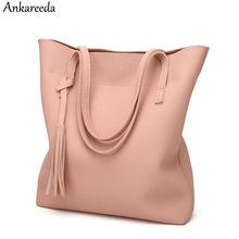 Buy Ankareeda Women's Soft Leather Handbag High Women Shoulder Bag Luxury Brand Tassel Bucket Bag Fashion Women's Handbags for $10.88 in AliExpress store