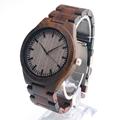 BOBO BIRD Mens Watches All Black Wooden Wristwatches with Wooden Band Wood Watches for Men and