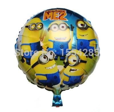 3pcs despicable me minions round foil helium balloons