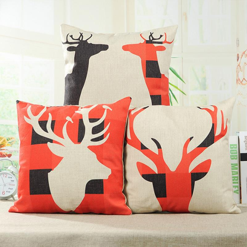 2015 deer Decorative throw Pillows case Linen Cotton Cushion Cover Creative decoration for Home Sofa Car covers 45X45cm(China (Mainland))