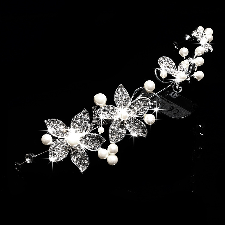 Romantic wedding bridal tiaras accessories for hair barrette headband with rhinestones and pearls made Flowers for women jewelry(China (Mainland))
