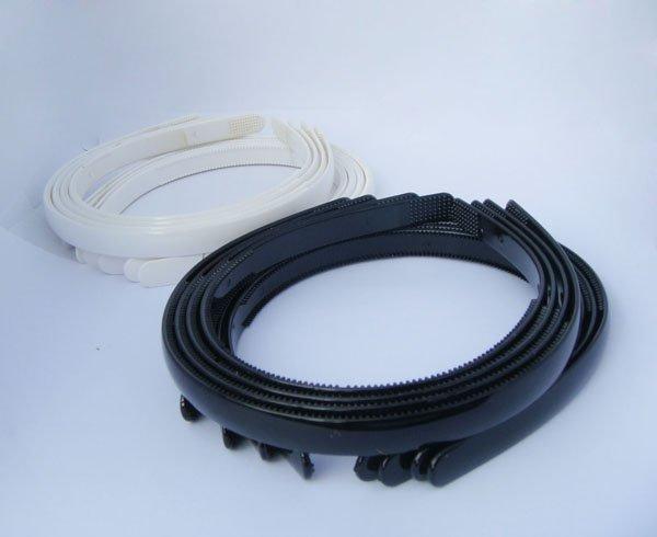 "100pcs White & Black headband hairstyles Tone Craft Blank Plain Plastic Headbands 1/2"" with Teeth(China (Mainland))"