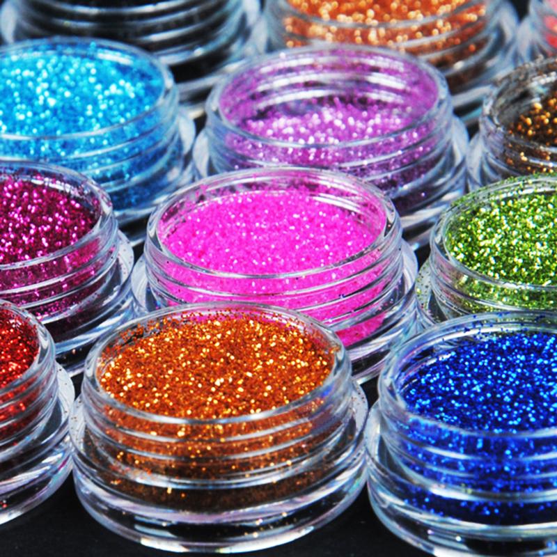 12 Color Metal Glitter Nail Art Tool Kit Acrylic UV Powder Dust gem Polish Nail Tools#M01090(China (Mainland))