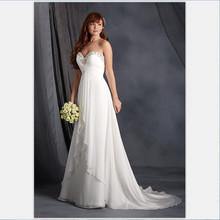 Vestido De Novia Casamento 2016 Chiffon Beach Wedding Dresses Sweetheart Beaded Buttons BOHO Bridal Gown Cout Train(China (Mainland))