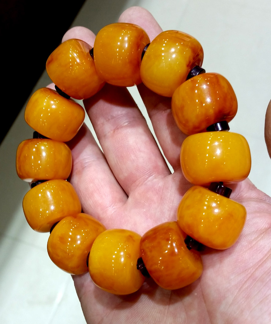 Best Old Brine Floating Amber Beeswax Beads String Mens Barrel Bead Jewelry Bracelets