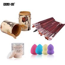 4 in 1 Brush Barrel Holder+20Pcs Makeup Brushes Set+7Pcs Air Puff +4Pcs Sponge Puff Foundation Blending Makeup Tool Kit 2016(China (Mainland))