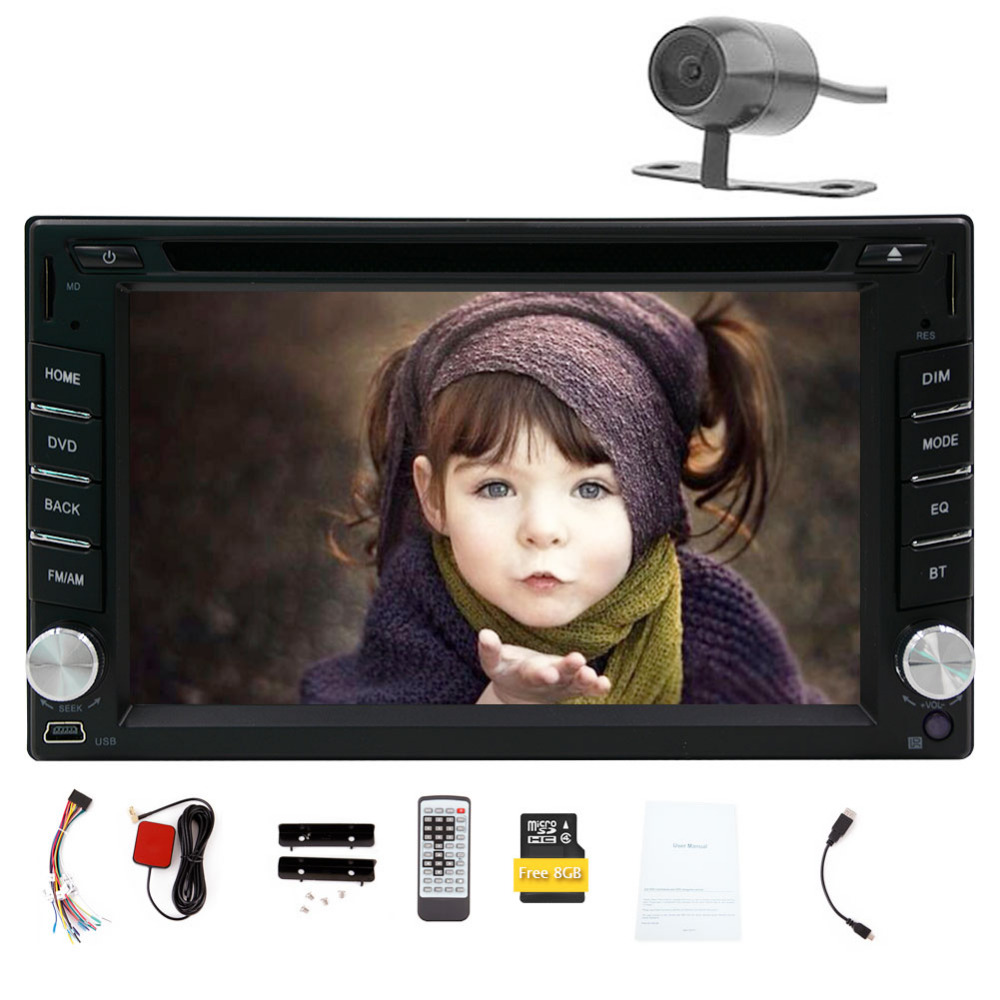 Free Rear Camera 6.2 Inch 2 Din Car DVD Player GPS Navigation Double Din Car PC Bluetooth Head Unit Video Music Player Free Map(China (Mainland))