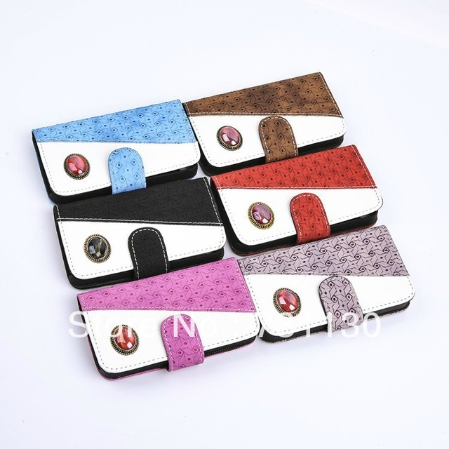 Free shipping popular items 6 colors fancy jewel diamond card holder leather case for Samsung Galaxy Note2 N7100