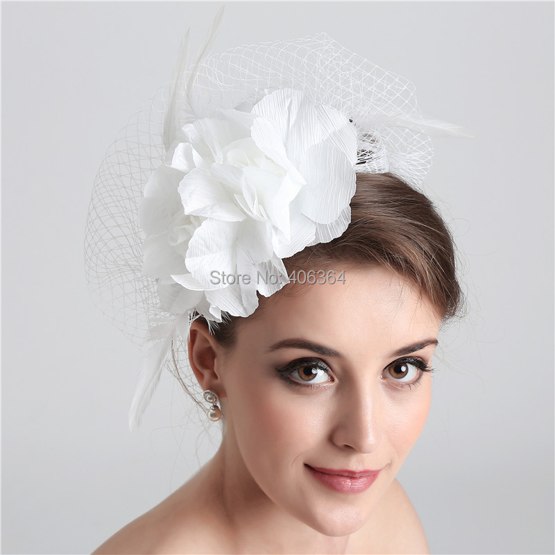 White Birdcage Net Wedding Bridal Fascinator Face Veils Feather Flower with Hairpins(China (Mainland))