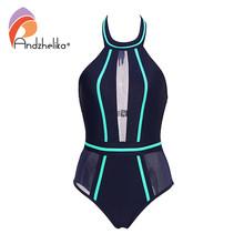 Andzhelika sexy maiô de uma peça de malha retalhos roupa de banho strapless menina sem costas bodysuit verão monokini ak75064(China)