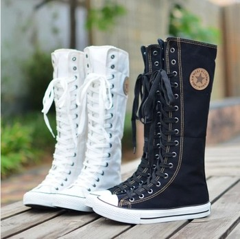 2016 Adult Fashion Gothic PUNK Women Boots Women Knee High Zip Laces Up Canvas Boots