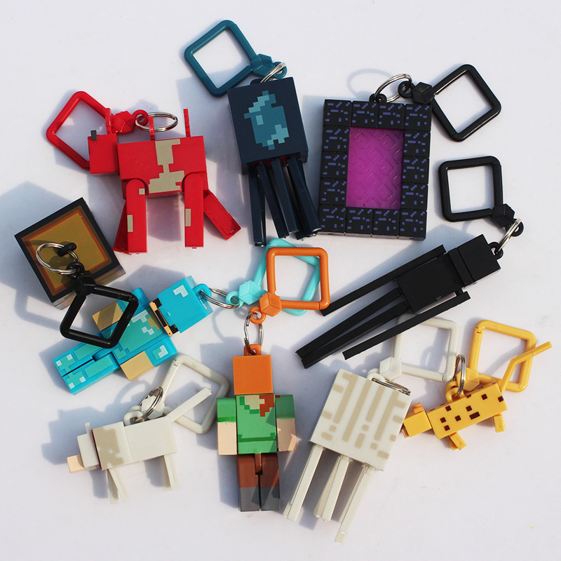 Hot Toys Minecraft Toys 10pcs/lot Minecraft Keychain Anime Figures Models MC Backpack Creeper Kids Toys(China (Mainland))