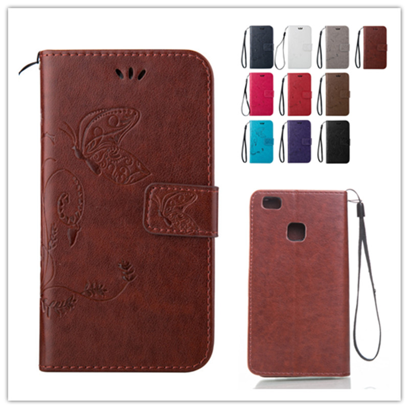 Elegant Embossing Luxury Vintage case for Huawei P9 Lite Flip Stand Hand Strap Retro PU Leather Cover Case Card Slot(China (Mainland))