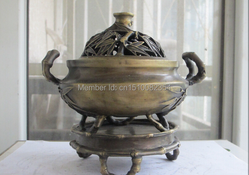 China Perfect beautiful bronze bamboo leaf Bamboo root system censer jar(China (Mainland))