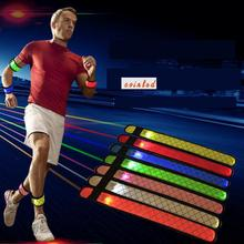 3 Mode Led Flashing 7 Colors Line Pattern Printing Nylon Slap Armband Blet Wirstband Bracelet