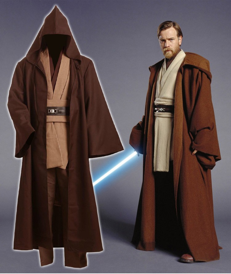Star Wars Adult Men Obi-Wan Kenobi Tunic Jedi Knight Hooded Robe Cloack Whole Set Cosplay Costume Brown Version Halloween PlusÎäåæäà è àêñåññóàðû<br><br>