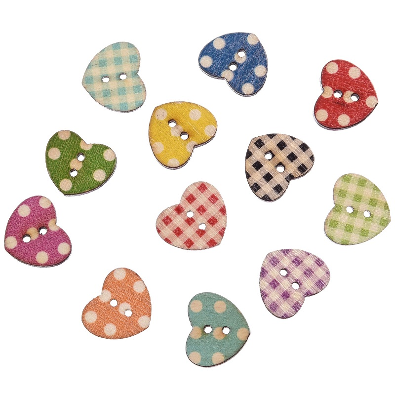 Hot 50pcs wooden buttons mixed color heart pattern for Decorative buttons for crafts