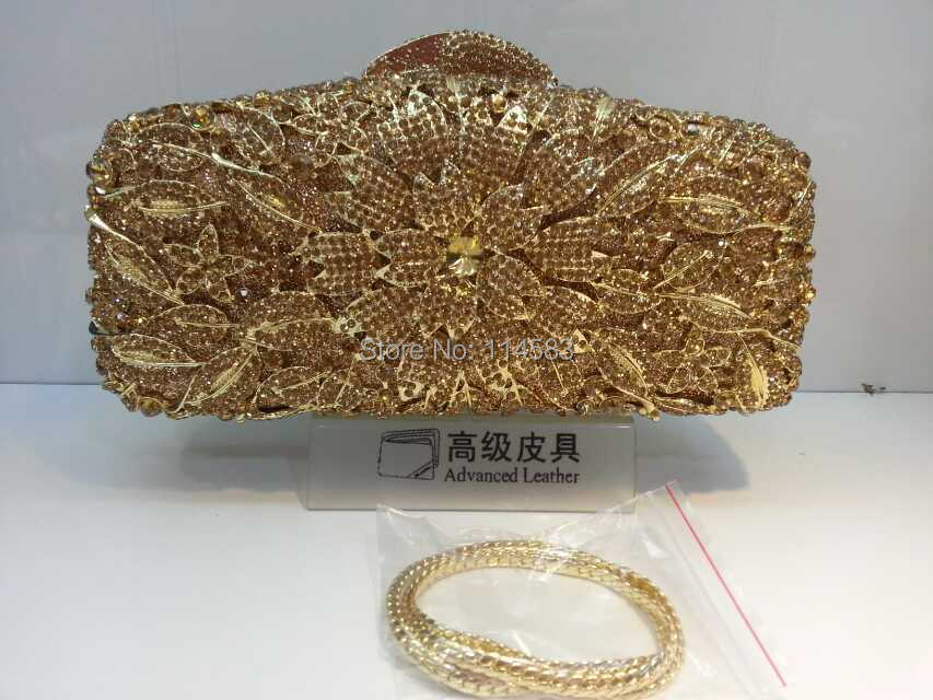 8222GG gold Crystal Floral Flower Lily Wedding Bridal Party Night gold hollow Metal Evening purse clutch bag case handbag