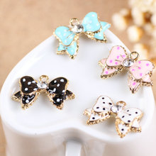 Buy MRHUANG Drop Oil Charms 10pcs Lucky bow floating Enamel Charms Alloy Pendant fit bracelet DIY Fashion Jewelry Accessories for $3.74 in AliExpress store