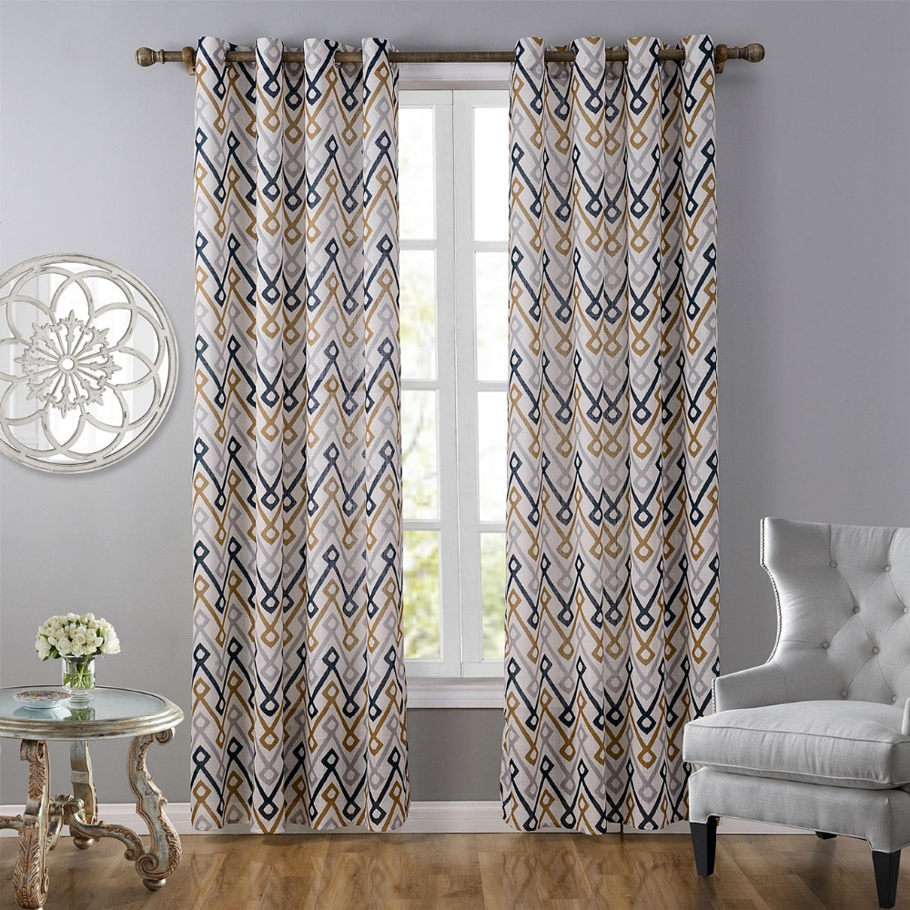 Window Curtains For Living Room Printed Colorful Striped