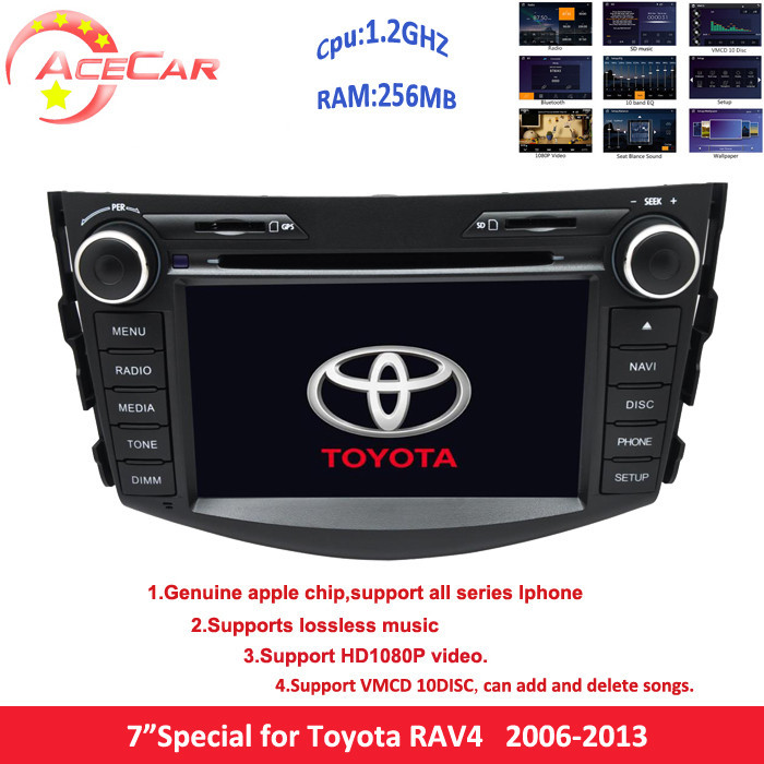 "The best 1.2GHZ 256MB 7"" 2 din car dvd player for toyota RAV4 2006-2013 with 1080p video RDS 3g lossless music 10 vmcd function(China (Mainland))"