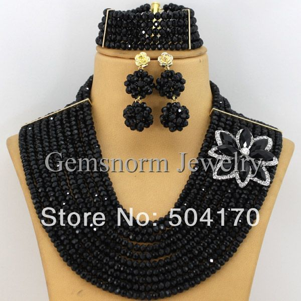 New Black Bridal Jewelry Set Crystal Beads Set Graceful African Women Wedding Jewelry Set Party Jewelry Set Free Shipping GS033(China (Mainland))