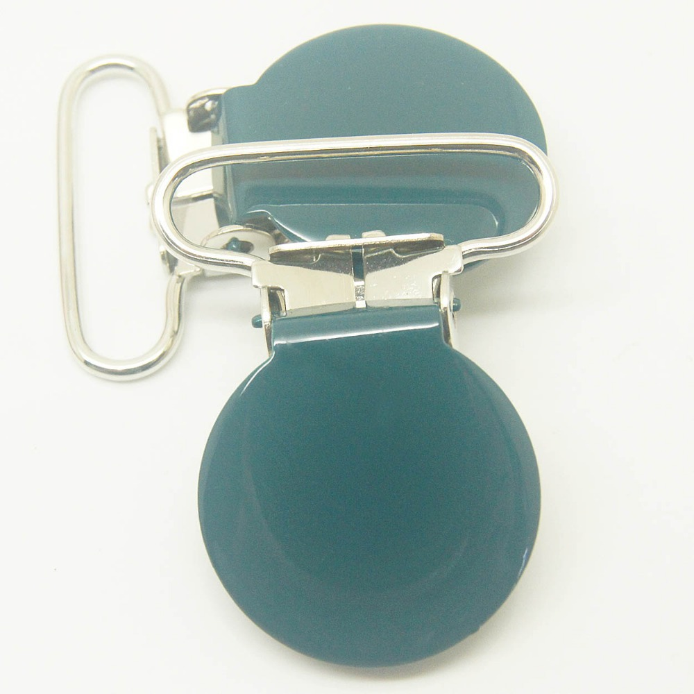 20,round top metal suspender clips dark green color 25mm ribbon clips,pacifier clip