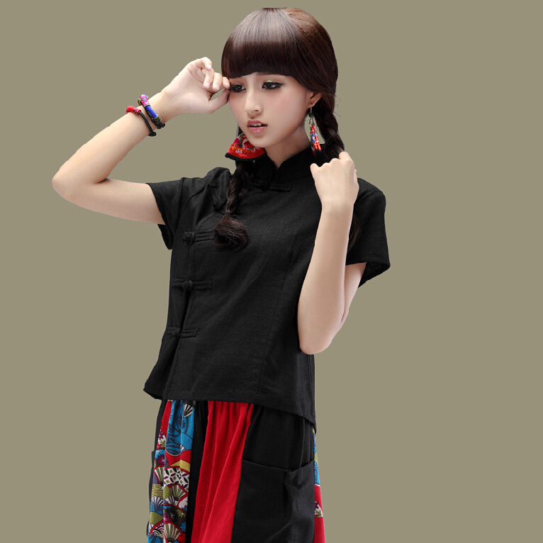 2014 summer casual chinese national style trend women linen short-sleeve cheongsam top blouse female shirt - iGem store
