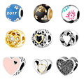 925 Silver Baby Hand Crystal Beads Fit Pandora Original Bracelet Snake Chain Necklace Thread Hole Heart