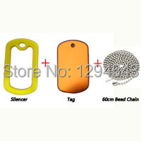 1200sets/lot Aluminum Military Dog Tag + Silencer + 60cm Bead Chain Pet ID Tag Blank Dog Tags Wholesale(China (Mainland))