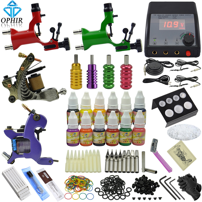 OPHIR 354pcs Professional 4 Machine Tattoo Kit Set Needle Equiment 12 Ink Pigment   #TA091