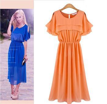 PTH-YFE6235# 2014 summer new European American fashion shawl long section dress women's clothing wholesale retail -Red orange(China (Mainland))