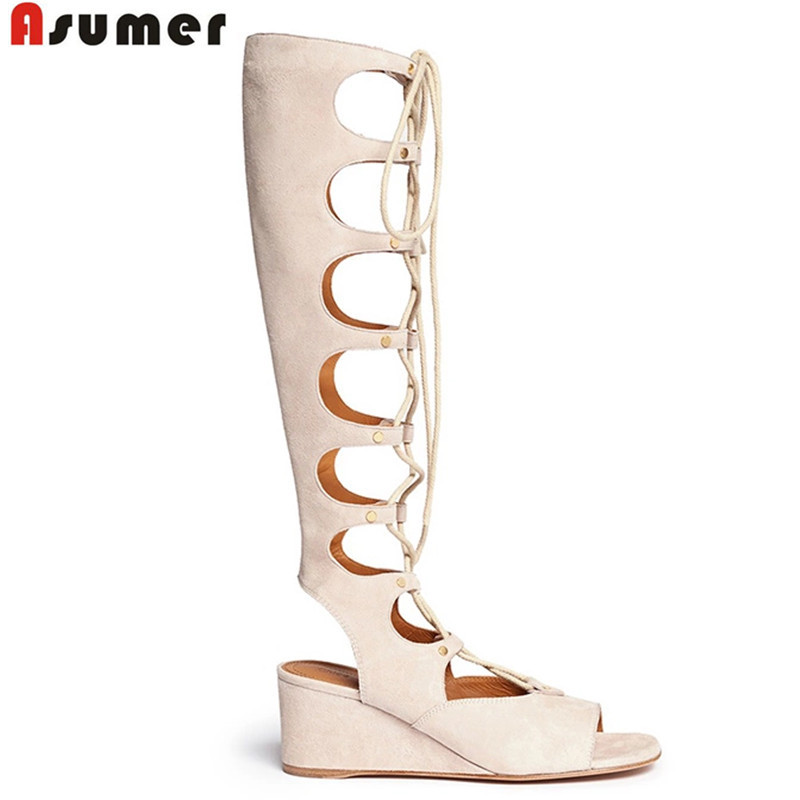 2015 fashion Brand genuine leather shoes wedges high heels Gladiator women sandals lace up sexy knee high boots summer <br><br>Aliexpress