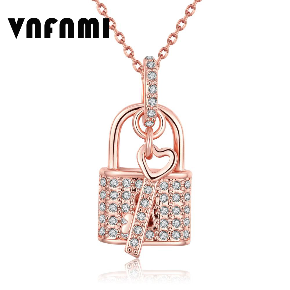 18K Rose Gold Plated Key and Lock Pendant Austrian Crystal Necklace Pendant Women Love Pendants Necklaces for Men Christmas Gift(China (Mainland))