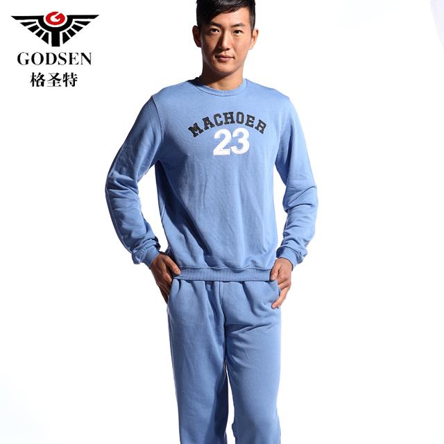 Male blue 100% cotton plus size sleepwear lounge casual sports Men set long-sleeve autumn and winter