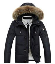 2016 new men's luxury brand Down Jacket Mens White down jacket fur collar jacket male winter coat jacket thickening(China (Mainland))