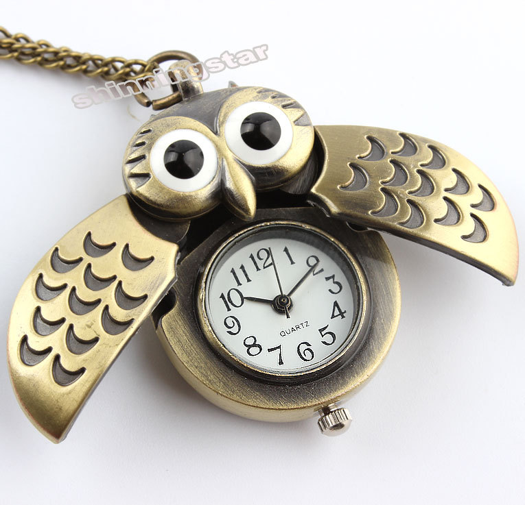 Free shipping Pocket Watch Necklace Chain Mens Womens Gift Owl Necklace Pendant Quartz CA P27<br><br>Aliexpress