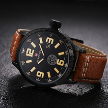 NEW Designer Naviforce Men Wristwatches Leather Wrist Watch Clock Mens Quartz Top Brand Luxury Sport Watch With Calendar Reloj
