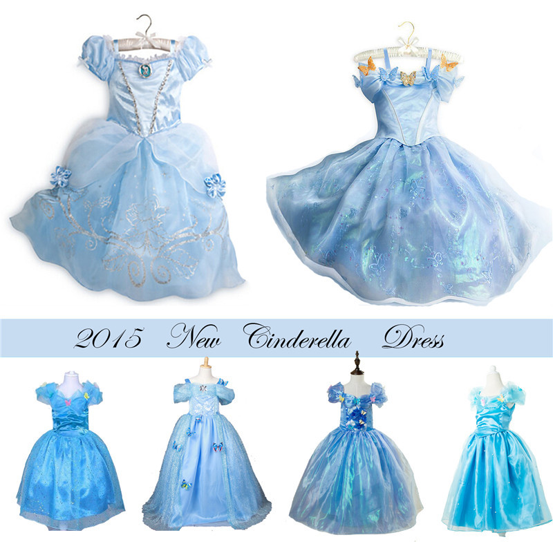 2015 Girls Summer style Dresses Cinderella Butterfly cinderella Elsa dress girls Princess Costume Lovely Brand Party Vestido(China (Mainland))