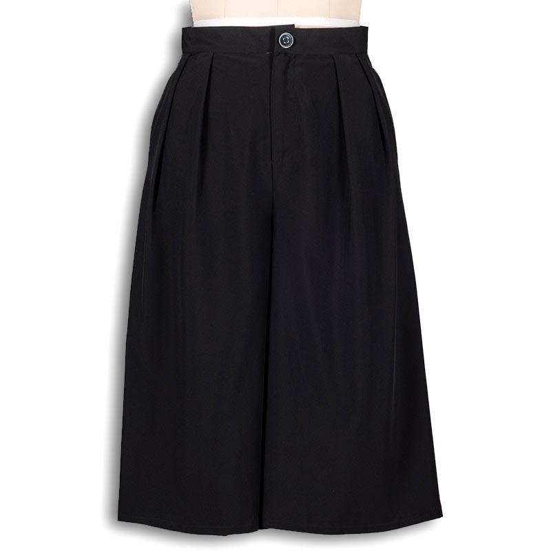 Black trousers capris women high waist pants wide leg loose culottes bermuda pantalon women midi 2015 clothing fashion wear(China (Mainland))