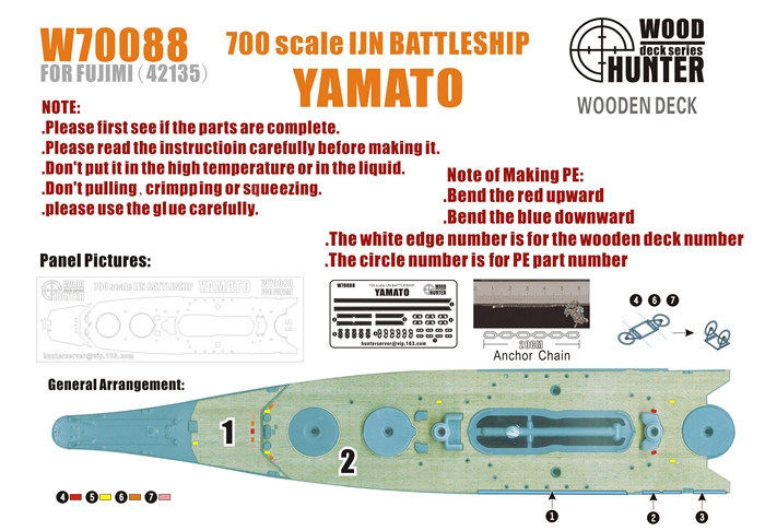 Hunter 1/700 W70088 Wood deck IJN BATTLESHIP YAMATO FOR FUJIMI 42135(China (Mainland))
