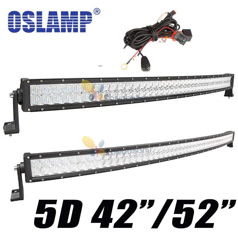"Oslamp 5D 52"" 500w Curved LED Light Bar 42"" 400W Spot Flood Combo Beam 12V LED Bar Offroad 4x4 Truck Trailer Camper Tractor 24V(China (Mainland))"