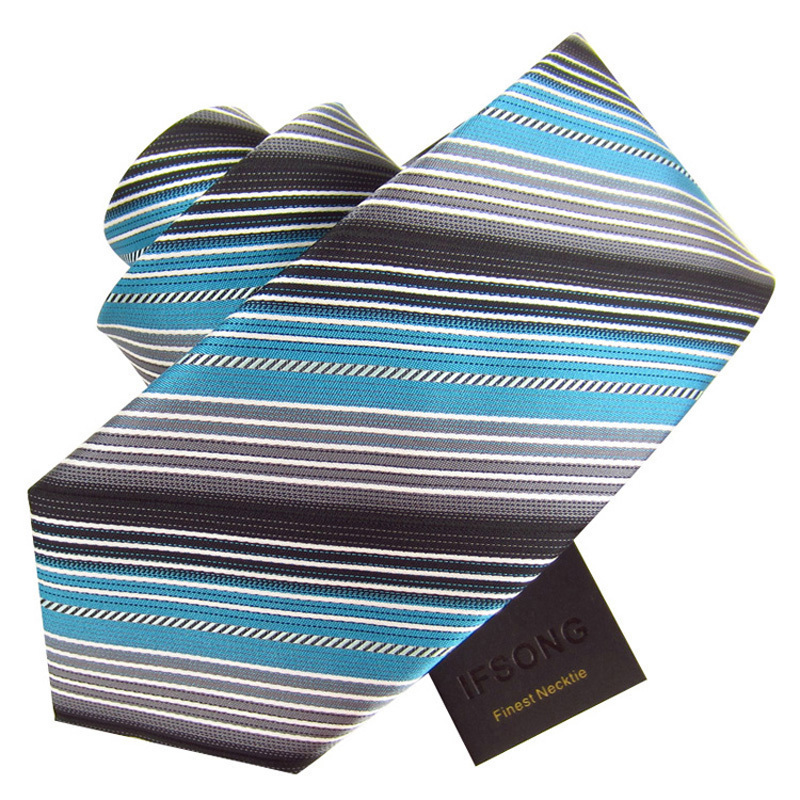 Black and gray 8cm turquoiseturquoise stripe commercial tie male formal elegant tie ifsong 390