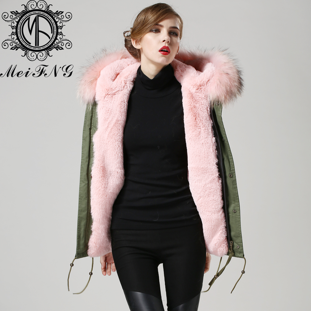 Light Pink Faux Fur Lined Real Raccoon Dog Collar Hooded Praka Women Man - Guangzhou Armiar Parkas Store -- Meifng Brand store