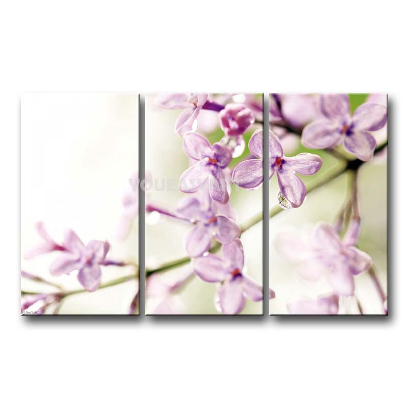 3 piece painting on canvas wall art lilac flowers pictures. Black Bedroom Furniture Sets. Home Design Ideas