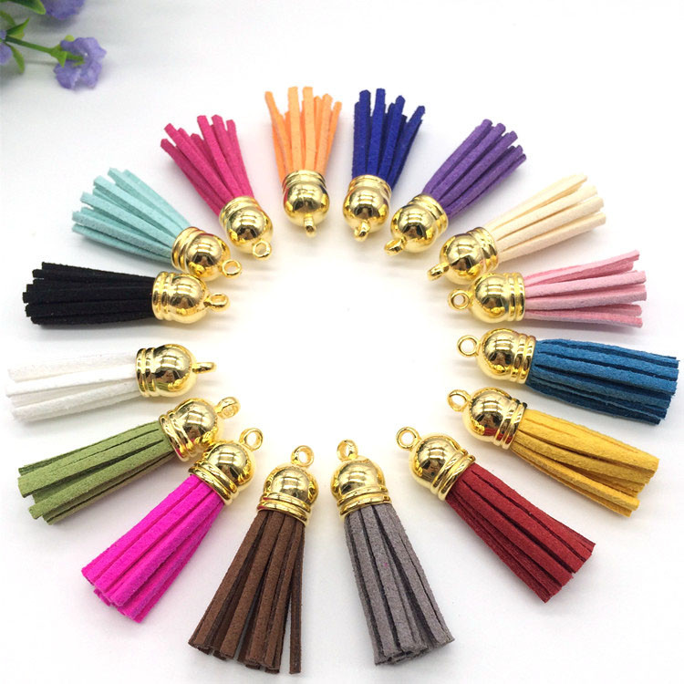 100pcs Mix Color 38mm Leather Tassel For Keychain Cellphone Straps Jewelry Fiber Fringe Suede Tassel Charms(China (Mainland))