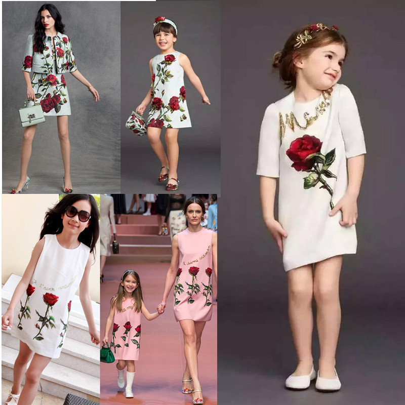2015 new arrival wholesale Spring/Autumn elegant  2-8Y kids dresses for girls 1piece girls clothes flower rose A-Line girl dress<br><br>Aliexpress