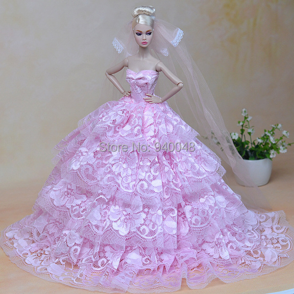 Buy free shipping pink and white wedding for Barbie wedding dresses for sale